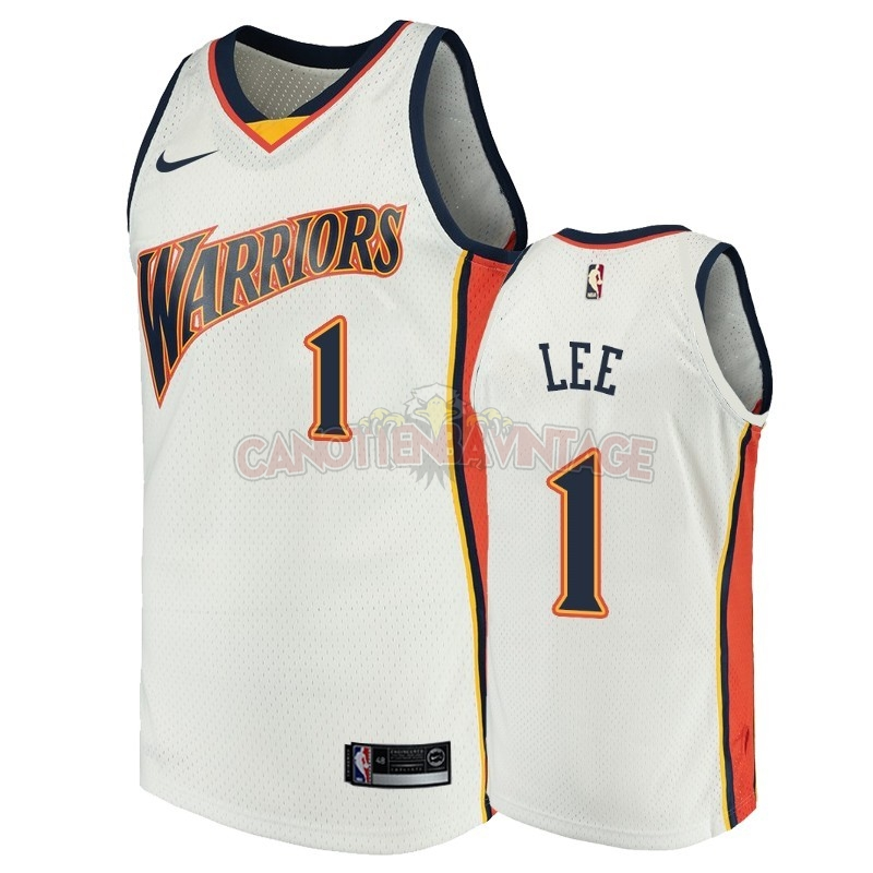 Acquista Personalizzate Maglia NBA Golden State Warriors NO.1 Damion Lee Bianco Throwback